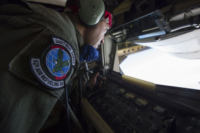 The view from a window inside a KC-135 Stratotanker during a flight over Southern Nevada during a Red Flag exercise on Wednesday, July 20, 2016. (Brett Le Blanc/Las Vegas Review-Journal) Follow @b ...