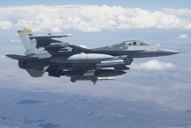 An F-16C from the 79th Fighter Squadron flies in formation over Southern Nevada during a Red Flag exercise on Wednesday, July 20, 2016. (Brett Le Blanc/Las Vegas Review-Journal) Follow @bleblancphoto