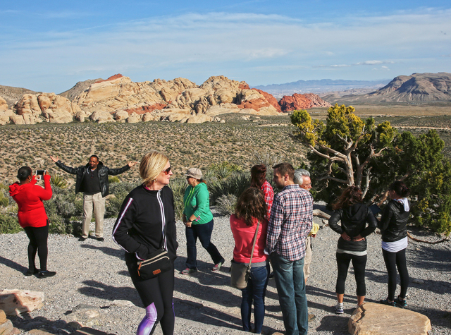 Visitors at Red Rock Canyon Conservation Area stop to take photos and appreciate in the view on the scenic route Sunday, March 13, 2016. (Benjamin Hager/Las Vegas Review-Journal) @benjaminhphoto