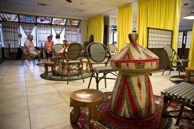 Traditional mesob baskets await customers at the Lucy Ethiopian Restaurant in Las Vegas on Wednesday, June 29, 2016. (Daniel Clark/Las Vegas Review-Journal Follow @DanJClarkPhoto)
