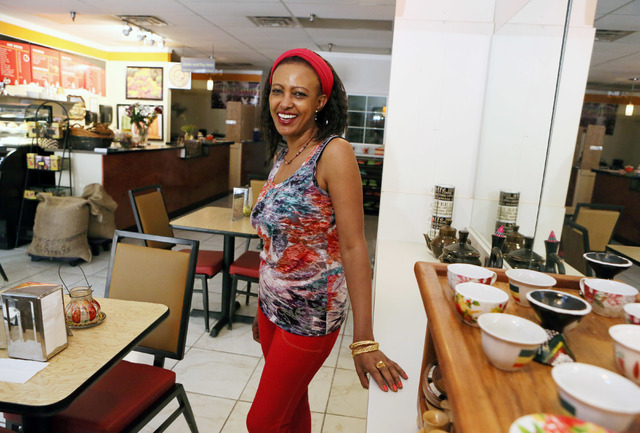 Mulu Chokele owns Kaldi's Coffee, which offers fresh-ground organic Ethiopian coffee in Las Vegas, Friday, July 1, 2016. (Ronda Churchill/Las Vegas Review-Journal)