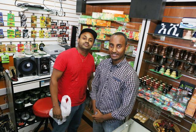Business partners Tesfalem Solomon, left, and Getachew Beyene at Shola Market, 4001 S. Decatur Blvd., Suite 1, in Las Vegas, Friday, July 1, 2016. (Ronda Churchill/Las Vegas Review-Journal)