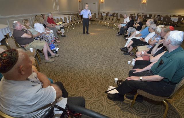 Rabbi Benjamin Katz speaks during a bibliodrama based on the story of Jonah at Temple Beth Sholom at 10700 Havenwood Lane in Las Vegas on June 21. Bill Hughes/Las Vegas Review-Journal