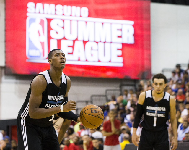 Minnesota Timberwolves guard Kris Dunn (3) attempts a free throw during the NBA Summer League tournament at Cox Pavilion at UNLV on Sunday, July 10, 2016, in Las Vegas. (Benjamin Hager/Las Vegas R ...