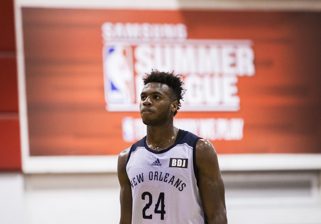 New Orleans Pelicans guard Buddy Hield (24) walks off the court at halftime during the NBA Summer League tournament at Cox Pavilion at UNLV on Sunday, July 10, 2016, in Las Vegas. (Benjamin Hager/ ...