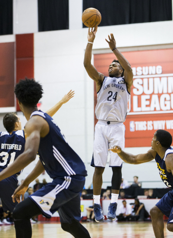 New Orleans Pelicans guard Buddy Hield (24) shoots a jump shot during the NBA Summer League tournament at Cox Pavilion at UNLV on Sunday, July 10, 2016, in Las Vegas. (Benjamin Hager/Las Vegas Rev ...