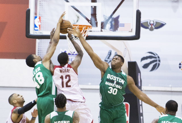 b0a2379fcd4 Boston Celtics forward Guerschon Yabusele (30) leaps to block the shot of  Cleveland Cavaliers