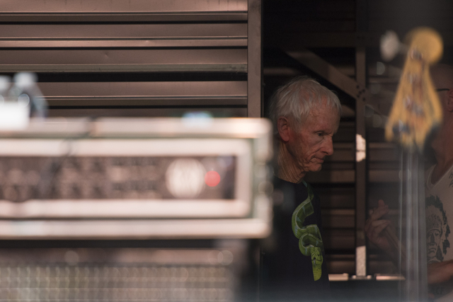 Robby Krieger of The Doors waits backstage prior to his performance during the Rock of Vegas concert series at Fremont Street Experience in Las Vegas on Saturday, July 23, 2016. (Jason Ogulnik/Las ...