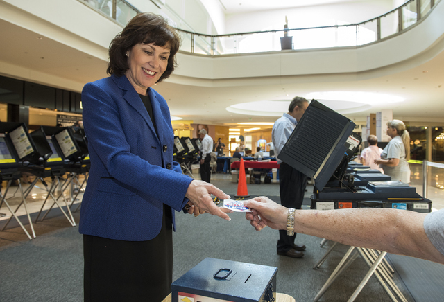 "Jacky Rosen, receives her ""I Voted"" sticker after voting at the Galleria Mall at Sunset in Henderson, Nev., on Thursday, June 2, 2016. (Martin S. Fuentes/Las Vegas Review-Journal)"