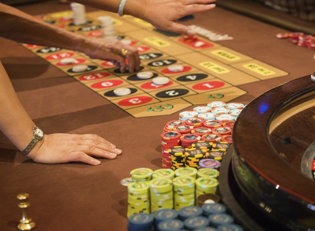 Gamblers place bets at the roulette table in Riviera hotel-casino, 2901 Las Vegas Blvd. South, on Wednesday, April 23, 2015. (Jeff Scheid/Las Vegas Review-Journal) Follow Jeff Scheid on Twitter @j ...