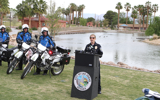 Detention & Enforcement Chief Michele Freeman speaks about a new pilot program during the news conference at Lorenzi Park Monday, March 21, 2016. (Bizuayehu Tesfaye/Las Vegas Review-Journal) F ...
