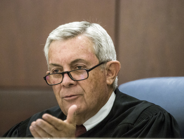 Associate Chief Justice James W. Hardesty asks a question during school choice oral arguments at the Nevada Supreme Court on Friday, July 29, 2016. Jeff Scheid/Las Vegas Review-Journal Follow @jef ...