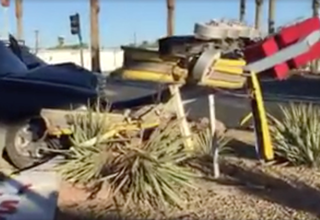 """The """"Welcome to Downtown Las Vegas"""" sign was destroyed by a pickup truck. (Cuauhtemoc Sanchez/Facebook)"""