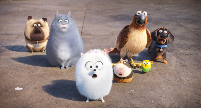 "(L to R) Mel (BOBBY MOYNIHAN), Chloe (LAKE BELL), Gidget (JENNY SLATE), Norman (CHRIS RENAUD), Tiberius (ALBERT BROOKS), Sweetpea and Buddy (HANNIBAL BURESS) in ""The Secret Life of Pets."" Credit:  ..."