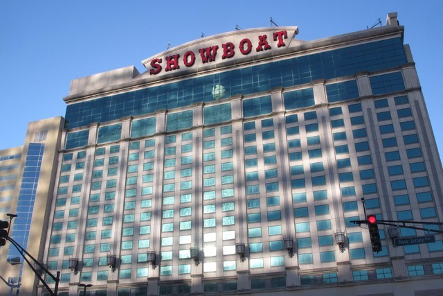 The former Showboat casino in Atlantic City, N.J., is reopening as a hotel with 852 hotel rooms and suites. (Wayne Parry/AP)