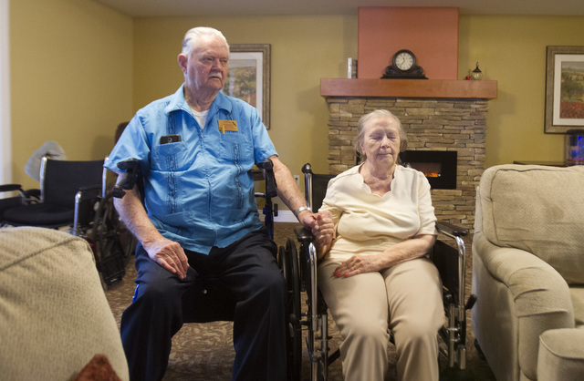 Patricia Mullen, 82, and her husband, Warren, 86, listen in during a reading exercise at Las Ventanas at Summerlin July 6. For 63 years, the Mullens have been inseparable, even now, as Patricia ba ...
