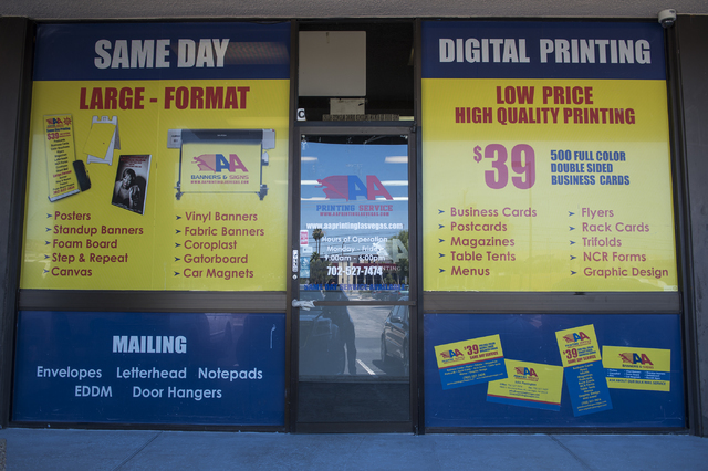 Entrepreneurs success mirrors rise in nevadas small business the exterior of aa printing service at 4800 s maryland parkway in las vegas reheart Choice Image