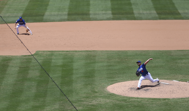 Las Vegas 51s pitcher Josh Smoker throws against the Sacramento River Cats at Cashman Field in Las Vegas on Tuesday, June 28, 2016. Chase Stevens/Las Vegas Review-Journal Follow @csstevensphoto