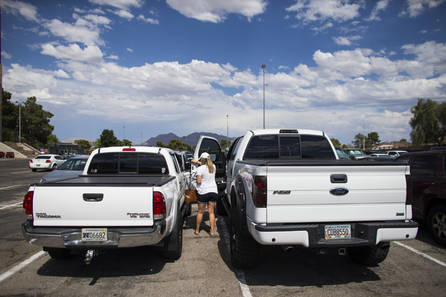 Nicole Smoker gets into a truck to wait for her husband, Josh, a pitcher for the Las Vegas 51s, at Cashman Field in Las Vegas on Tuesday, June 28, 2016. (Chase Stevens/Las Vegas Review-Journal Fol ...