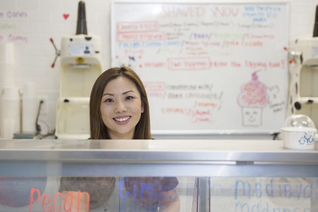 Yuki Shaved Snow owner Linda Ma, 35, poses at her shop located at 8414 Farm Road, Suite 150 in Las Vegas on Thursday, June 30, 2016. Richard Brian/Las Vegas Review-Journal