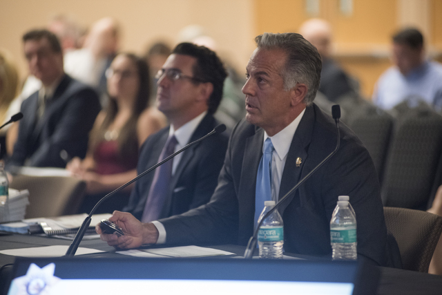 Clark County Sheriff Joseph Lombardo speaks to the Southern Nevada Tourism Infrastructure Committee at the UNLV Stan Fulton - International Gaming Institute building in Las Vegas on Thursday, July ...