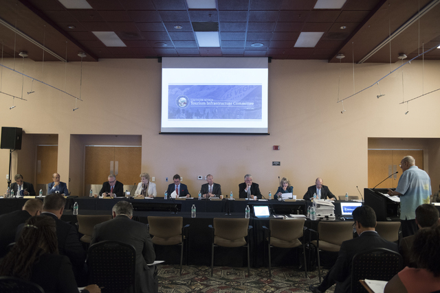 The Southern Nevada Tourism Infrastructure Committee room is seen during a meeting about potential stadium sites at UNLV Stan Fulton-International Gaming Institute building in Las Vegas on Thursda ...