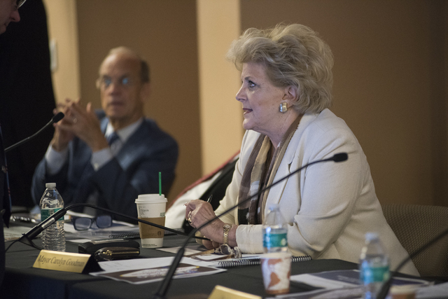 Las Vegas Mayor Carolyn Goodman speaks at the Southern Nevada Tourism Infrastructure Committee about potential stadium sites, at the UNLV Stan Fulton-International Gaming Institute building, Thurs ...