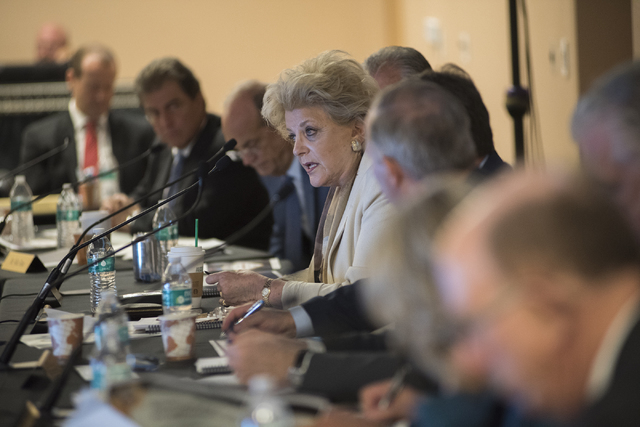 Las Vegas Mayor Carolyn Goodman speaks at the Southern Nevada Tourism Infrastructure Committee during a meeting about potential stadium sites at the UNLV Stan Fulton-International Gaming Institute ...
