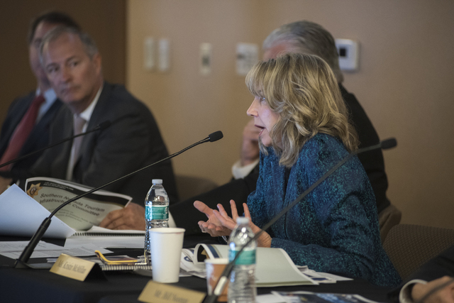 Kristin McMillan speaks at the Southern Nevada Tourism Infrastructure Committee during a meeting about potential stadium sites at the UNLV Stan Fulton-International Gaming Institute building in La ...