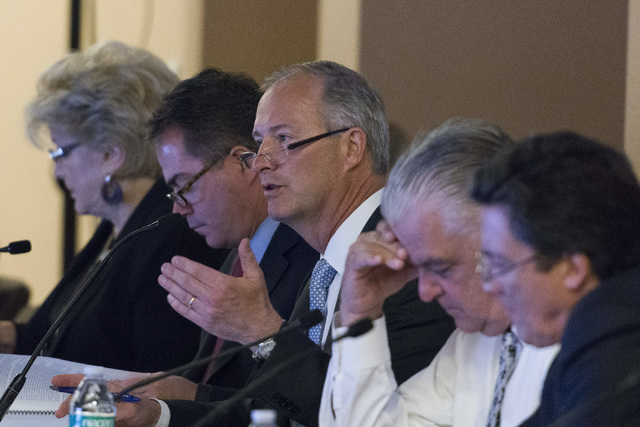 Committee Chairman Steve Hill, center, speaks during a Southern Nevada Tourism Infrastructure Committee meeting at the Stan Fulton Building at UNLV in Las Vegas, Thursday, June 23, 2016. (Jason Og ...