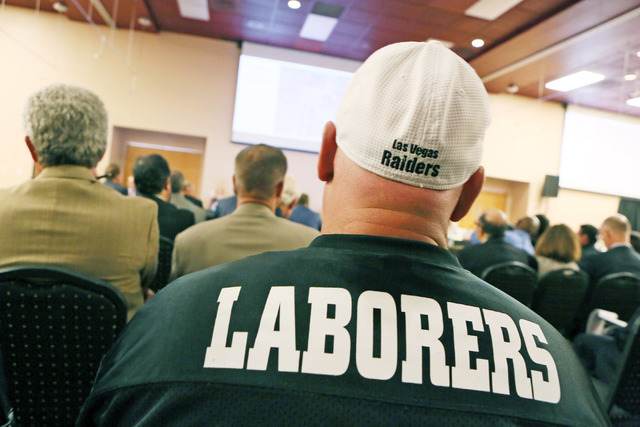 A member of Laborers 872 attends a meeting of the Southern Nevada Tourism Infrastructure Committee at UNLV's Stan Fulton Building Monday, July 11, 2016, in Las Vegas. (Ronda Churchill/Las Vegas Re ...