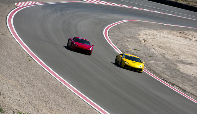 Exotic cars round the track at SpeedVegas, 14200 S. Las Vegas Blvd, on Thursday, July 14, 2016. (Jeff Scheid/Las Vegas Review-Journal) Follow @jeffscheid