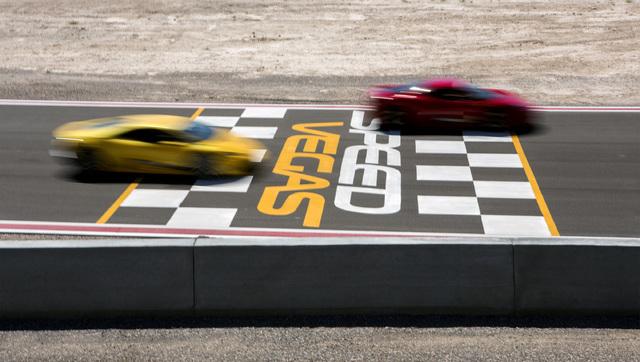 Exotic cars speed pass the observation deck at SpeedVegas, 14200 S. Las Vegas Blvd, on Thursday, July 14, 2016. (Jeff Scheid/Las Vegas Review-Journal) Follow @jeffscheid
