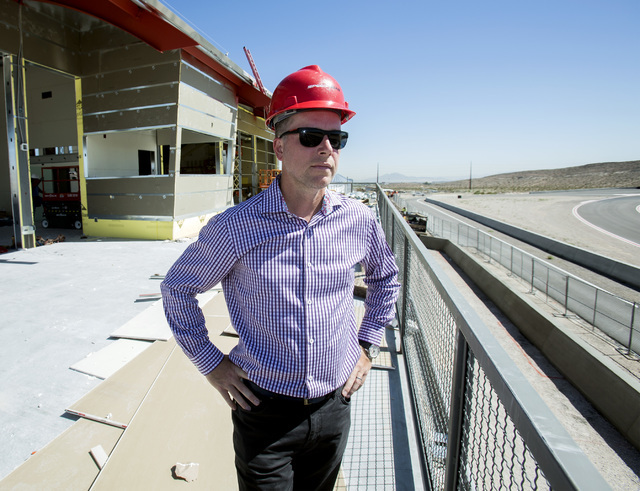 Aaron Fessler, co-founder and CEO at SpeedVegas, 14200 S. Las Vegas Blvd, stands on the second floor of the under construction observation facility on Thursday, July 14, 2016. (Jeff Scheid/Las Veg ...