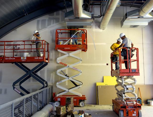 Laborers work on the new observation facility under construction at SpeedVegas, 14200 S. Las Vegas Blvd, on Thursday, July 14, 2016. (Jeff Scheid/Las Vegas Review-Journal) Follow @jeffscheid