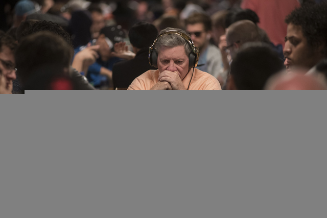 Poker commentator Mike Sexton plays in the Main Event of the World Series of Poker at the Rio Convention Center in Las Vegas on Monday, July 11, 2016. (Martin S. Fuentes/LasVegas Review-Journal)