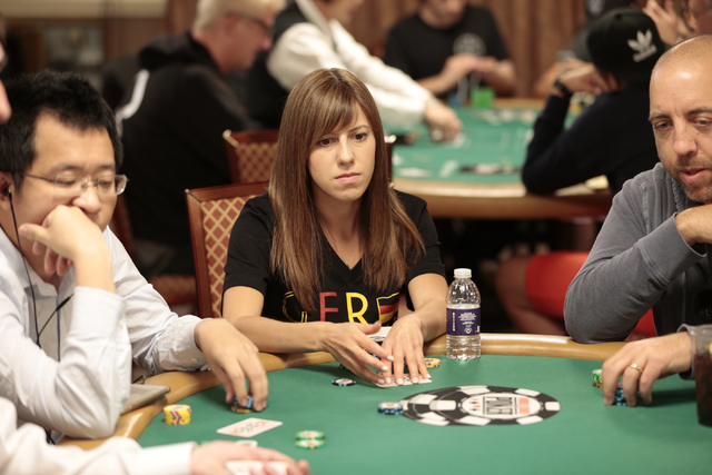 Kristen Bicknell looks across the table during the Tag Team Poker No Limit Hold'em event at the Rio Convention Center in Las Vegas on Wednesday, July 6, 2016. Donavon Lockett/Las Vegas Review-Journal