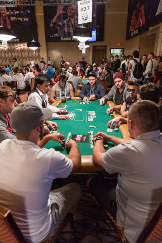 Tag team poker players are shown sitting at table #37 during the Tag Team Poker tournament at the Rio Convention Center in Las Vegas on Wednesday, July 6, 2016. Donavon Lockett/Las Vegas Review-Jo ...