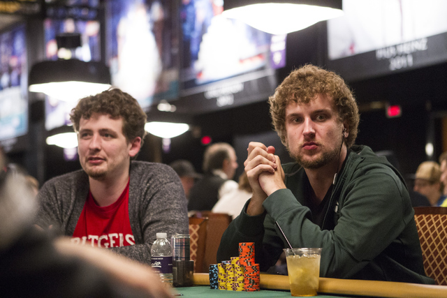 Professional poker player Ryan Riess, right, plays during a World Series of Poker tournament at the Rio Convention Center on Wednesday, July 13, 2016, in Las Vegas. Erik Verduzco/Las Vegas Review- ...