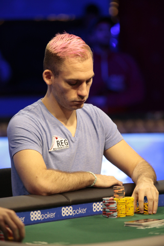 Poker player Justin Bonomo shuffles his chips during the$50,000 buy-in Poker Players' Championship at the Rio Convention Center in Las Vegas on Wednesday, July 6, 2016. (Donavon Lockett/Las Vegas  ...