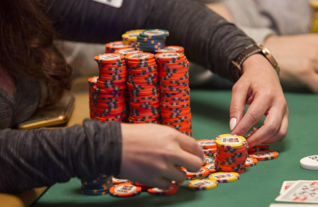 The poker chips of Melanie Weisner are seen as she competes on Day 4 of the Main Event of the World Series of Poker at the Rio Convention Center in Las Vegas on Friday, July 15, 2016. Richard Bria ...