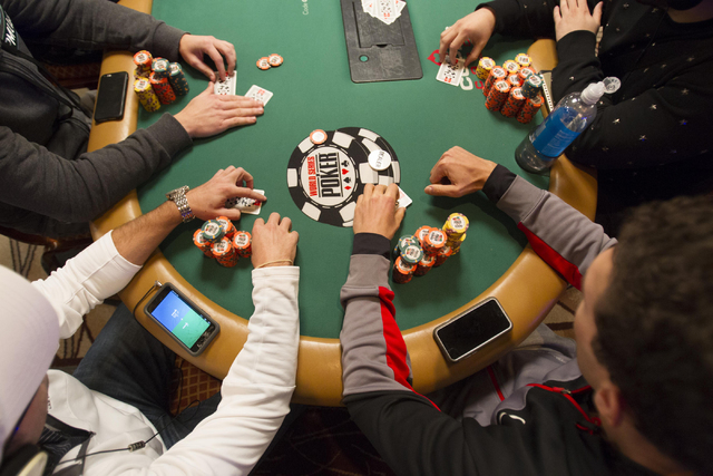 Poker players compete on Day 4 of the Main Event of the World Series of Poker at the Rio Convention Center in Las Vegas on Friday, July 15, 2016. Richard Brian/Las Vegas Review-Journal Follow @veg ...