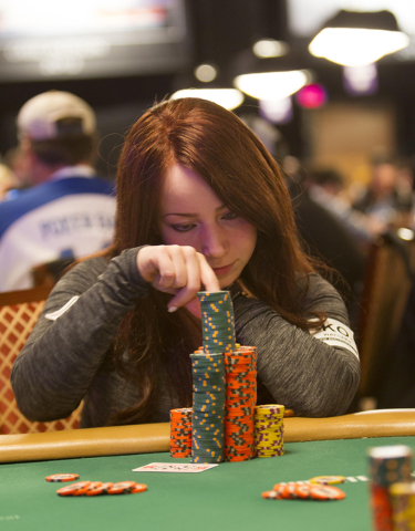 Melanie Weisner, 29, of Houston, Texas, competes during Day 4 of the Main Event of the World Series of Poker at the Rio Convention Center in Las Vegas on Friday, July 15, 2016. Richard Brian/Las V ...