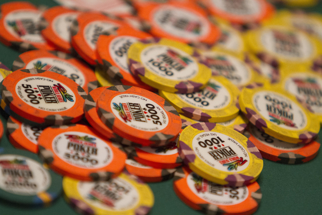 Poker chips are seen on a table during Day 4 of the Main Event of the World Series of Poker at the Rio Convention Center in Las Vegas on Friday, July 15, 2016. Richard Brian/Las Vegas Review-Journ ...