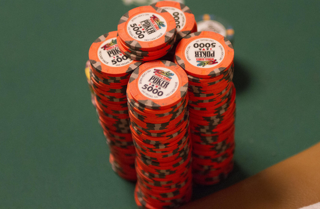 A stack of poker chips is seen on a table during Day 4 of the Main Event of the World Series of Poker at the Rio Convention Center in Las Vegas on Friday, July 15, 2016. Richard Brian/Las Vegas Re ...