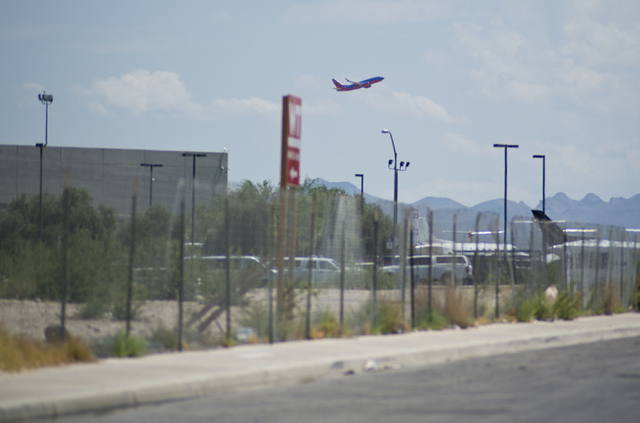 A Southwest Airlines aircraft is seen taking off from near the proposed site of a stadium near Tropicana Avenue and Koval Lane on Friday, July 1, 2016. Southwest has sent a letter to local officia ...