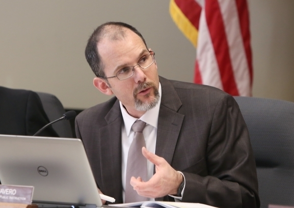 The Interim Superintendent of Public Instruction for the Nevada Department of Education Steve Canavero speaks during the State Board of Education meeting at the Nevada Department of Education offi ...