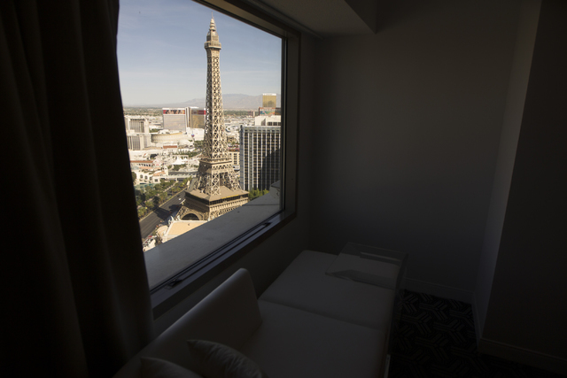 The view from a standard room at Planet Hollywood casino-hotel is seen on Wednesday, March 16, 2016, in Las Vegas. Erik Verduzco/Las Vegas Review-Journal Follow @Erik_Verduzco