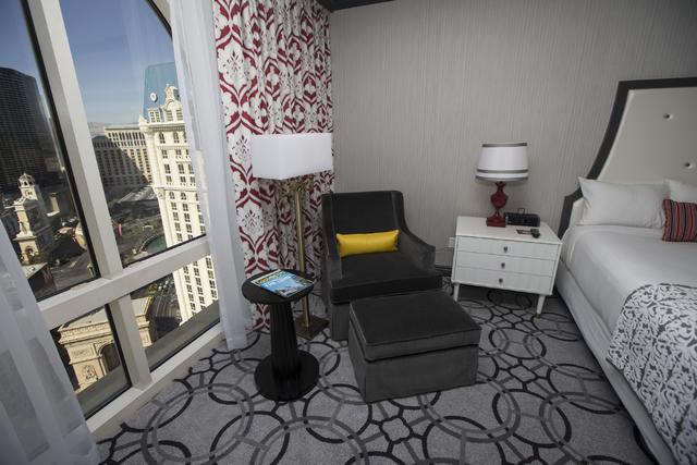 A standard king size bedroom at the Paris casino-hotel is seen on Wednesday, March 16, 2016, in Las Vegas. Erik Verduzco/Las Vegas Review-Journal Follow @Erik_Verduzco