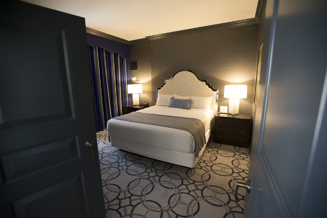 The bedroom inside the Marseille suite at the Paris casino-hotel is seen on Wednesday, March 16, 2016, in Las Vegas. Erik Verduzco/Las Vegas Review-Journal Follow @Erik_Verduzco
